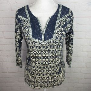 Lucky Brand women's size M Navy Blue Crochet Knit